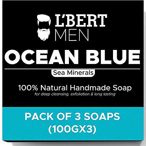 L'BERT Ocean Blue 100 % Natural Organic Handmade Bath Soap   For Deep Cleansing, Refreshing & Long Lasting - 100 g (Paraben & Sulphate Free)