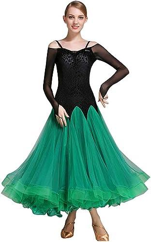 RJ Robes Jupe de Danse Moderne Jupe de Danse de Salon, Robe de Concours de Printemps et d'été (Couleur   vert, Taille   XXL)