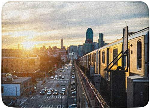 """ECNM56B Felpudos Alfombras de baño Alfombrilla para Puerta Tren Colorido del Metro en Nueva York al Atardecer y al Paisaje Urbano de Manhattan Ver Metro 15.8""""x23.6"""