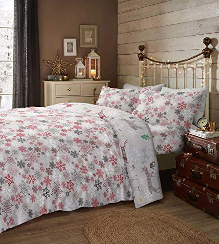 Fusion Christmas - Garland Reindeer - 100% Brushed Cotton Duvet Cover Set - Double Bed Size in Multicolour