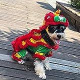 Destinely Haustier Katze Hund Pullover, Löwentanz Kostüm, Hund Hoodie Overall Haustier Kleidung warme süße Mantel Jacke, Fleece Haustier Mantel für Welpen klein mittel groß Hund