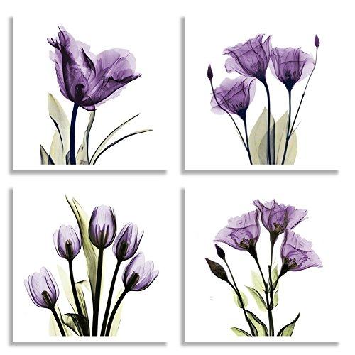 HLJ ART 4 Panel Elegant Tulip Purple Flower Canvas Print Wall Art