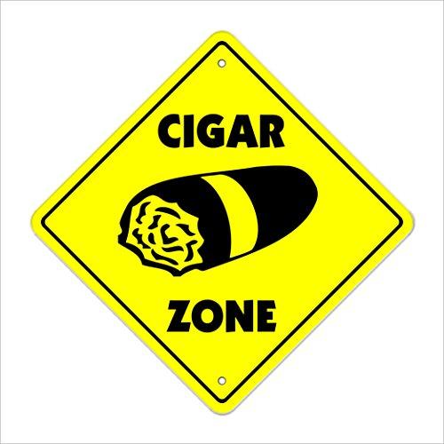 "Cigar Crossing Sign Zone Xing   Indoor/Outdoor   20"" Tall Plastic Sign smoker box Cuban cigars shop lover Cuba tobacconist smoking"