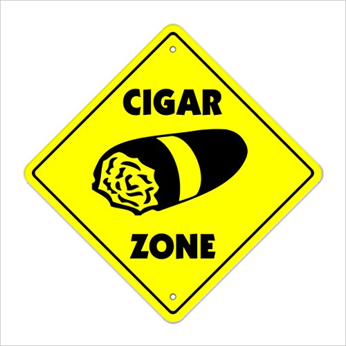 "Cigar Crossing Sign Zone Xing | Indoor/Outdoor | 20"" Tall Smoker Box Cuban Cigars Shop Lover Cuba Tobacconist Smoking"