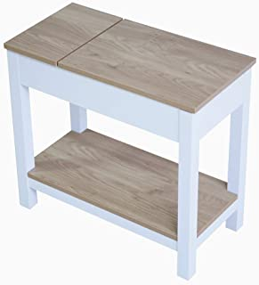 Roomfitters Farmhouse French Country Side End Table with Flip top Storage and Shelf, Cottage