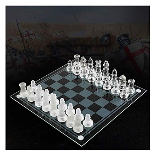 HEZHANG Chess Set Travel Chess Set K9 Glass Chess Game Medium Packaging International Chess Game International Chess Set Board Chess Game Backgammon and Chess Set,B,B