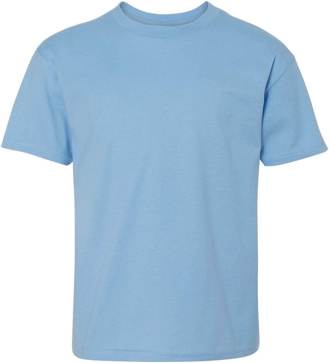 Hanes Youth 4. 100% Ringspun Cotton Nano-T T-Shirt, Light Blue, X-Large