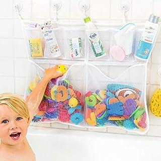 The Really Big Tub Cubby Bath Toy Organizer & Caddy - 6X Soap & Shampoo Pockets - Quick Dry Bathtub Storage Net - 6X Lock ...