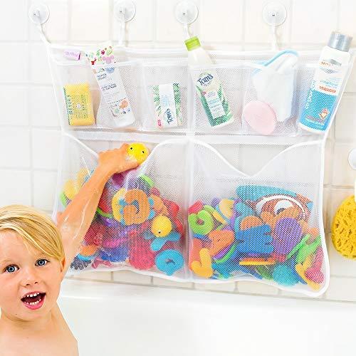 Tub Cubby Bath Toy Organizer - Large 23x30' Mold Resistant Mesh Net 6 Divider...
