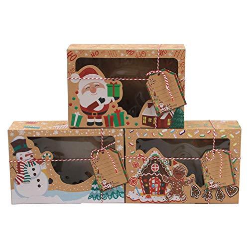 Scatole Regalo di Natale con Finestra, 12 Pezzi Scatole per Biscotti di Natale, Scatole per Dolciumi Trasparenti, Scatole per Caramelle in Carta Marrone, Scatole per Dolcetti Natalizi