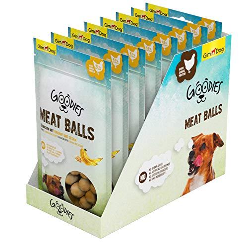 GimDog Goodies Meat Balls Hühnchen, Mono-Protein Hundeleckerli mit hohem Fleischanteil, 1 Multipack (8 x 55 g)