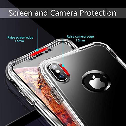 SKYLMW Case for iPhone Xs MAX 6.5 inch, [Built in Screen Protector] Full Body Shockproof Dual Layer High Impact Protective Hard Plastic & Soft TPU with Cover Cases for iPhone Xs MAX 2018,Clear