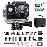 Action Cam 4K WiFi 1080P 60FPS, 20 MP Unterwasserkamera, 2.4G Fernbedienung und 2 Akkus...