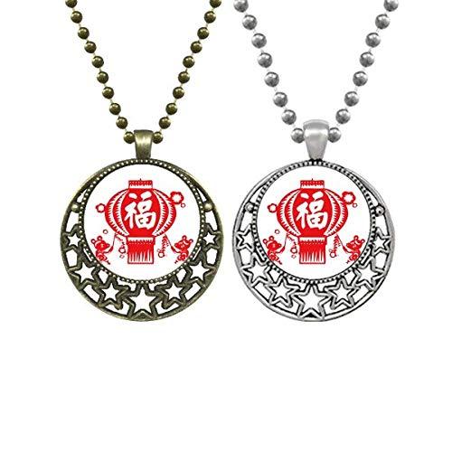 Chinesische rote Papier-Schnittmuster Liebhaber-Halsketten Anhänger Retro Mond Sterne Schmuck