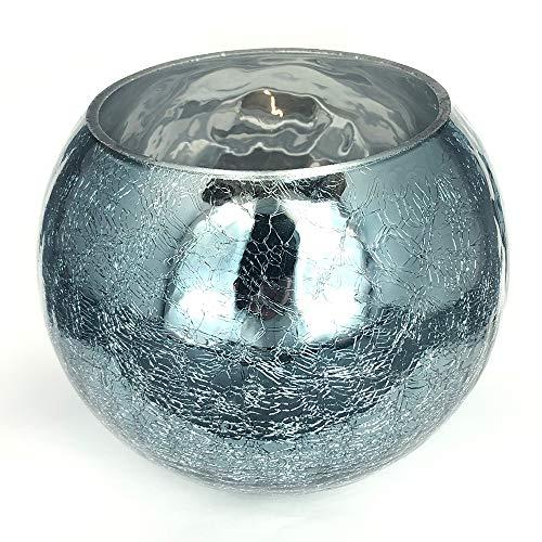 CREOFANT Deko Glas - Windlicht - Tischdeko - Teelichthalter Crackle mit spiegelnder Oberfläche · 1 Stück (ca. 15 cm x 15 cm x 13 cm) · grafitgrau