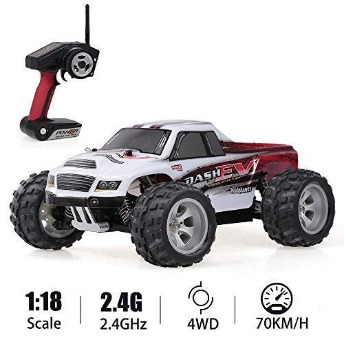 WLtoys A979B RC Car, 1/18 Scale 4WD 70KM/h High Speed Buggy, 2.4GHz Remote Control Electric Big Foot Off Road Truck RTR for Kids and Adults