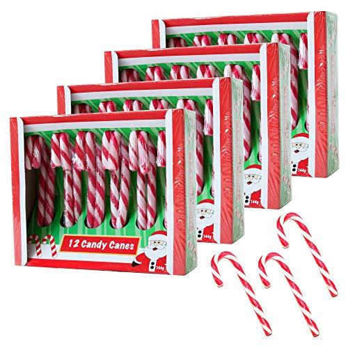 Becky´s 4 x 12 suikerstokjes – Candy Canes – aardbeismaak, rood wit – 48 stuks, elk 12 g