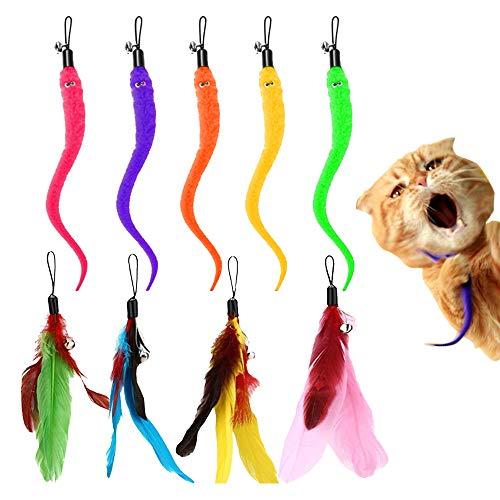 LUKIUP® Katzenspielzeug intelligenz set, katzenangel mit federn, 4 Wurm Katzenspielzeug und 5 Katzenangel Ersatzfedern mit Anhänger Feder Glocke Befestigungen