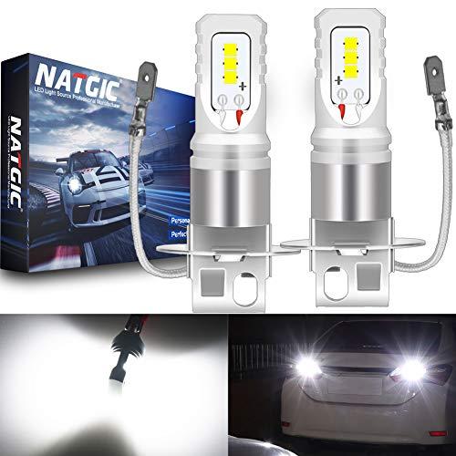 NATGIC H3 Ampoules LED antibrouillard blanches Xenon 1700LM CSP pour projecteur antibrouillard, 12V-24V (paquet de 2)