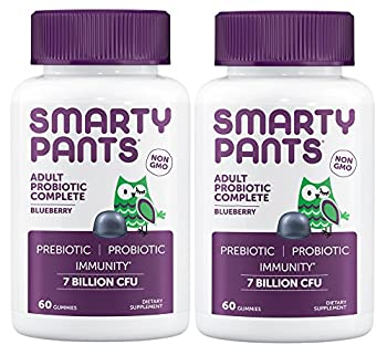 Smartypants Adult Probiotic Complete Blueberry  Pack of 2  with Beta-Glucan Immune Support 60 Gummies per Bottle