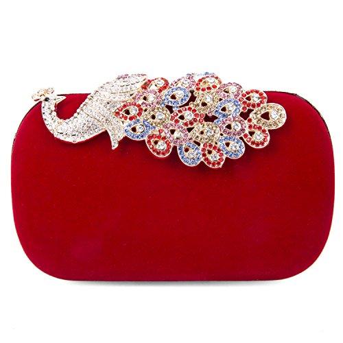 SYMALL Donna Pochette Velluto Diamanti Cristalli Scintillanti Clutch Festa Pizzo Pavone Decorazione Borsetta Elegante Luminosi Sacchetto di Sera Pochette Vintage Mini Borsa Retro, Rosso