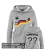 Comedy Shirts EM 2016 - Retro-Trikot - WUNSCHDRUCK - Damen Hoodie - Grau/Schwarz-Rot-Gelb Gr. XL