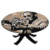Mantel redondo de Jazz Music, diseño de músico con gafas de sol tocando trompeta, borde elástico, impermeable y lavable, 142 cm de diámetro, color beige y negro