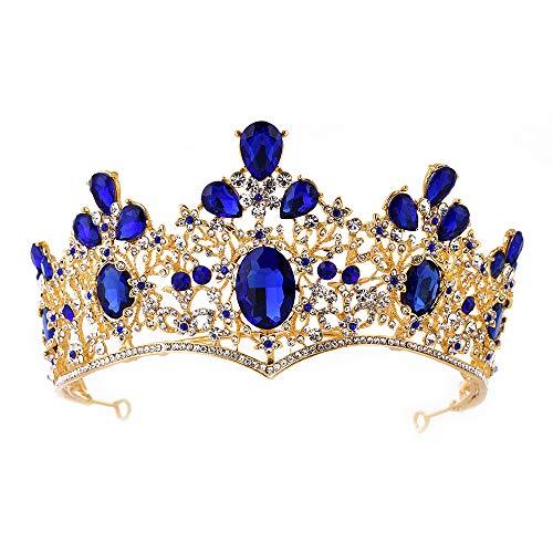 Baroque Royal Queen Gold Wedding Crown Crystal Quinceanera Princess Tiara Headbands for Women Bridal Party Birthday Headpieces (Blue)