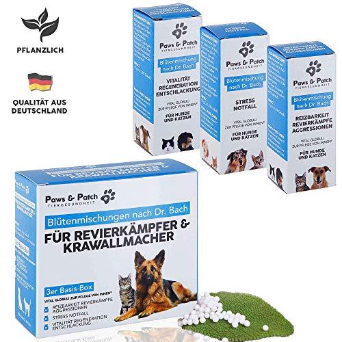 Paws & Patch Bachblüten 3er Basis-Box für REVIERKÄMPFER & KRAWALLMACHER, für Katzen & Hunde, bei Aggressionen, Stress, im Notfall, für Vitalität und Regeneration, 3 x 10g