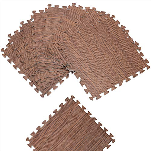 Deuba 8er Set Puzzlematte Holzoptik Braun Bodenschutzmatte 45x45cm Schutzmatte Fitnessmatte Schaumstoff Unterlegmatte