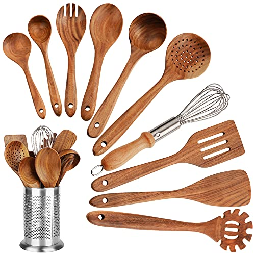 Wooden Utensils for Cooking, 11 PCS Acacia Wooden Spoons for Cooking, Kitchen Utensils Set, Cooking Utensils Set with Spatula and Whisk, Non-stick Cookware for Home and Kitchen Use (11)