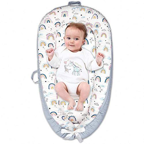 Arkmiido Nido Bebé Recién Nacido 90 x 50 cm Algodón 100%, Reductor de Cuna Nidos para Recién Nacidos y Bebés, Cuna Cama de Viaje Portátil, Funda Removible y Lavable
