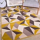 The Rug House Milan Alfombra para Sala de Estar con diseño geométrico caleidoscopio Tradicional Color Amarillo Ocre Mostaza Gris Beige