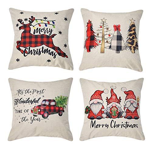 Kiuree Christmas Pillow Covers 18x18 Farmhouse Buffalo Plaid Christmas Decorations Throw Pillows Cases Set of 4 Winter Holiday Black Red Truck Xmas Tree Seasonal Home Outdoor Decor Cushion Covers