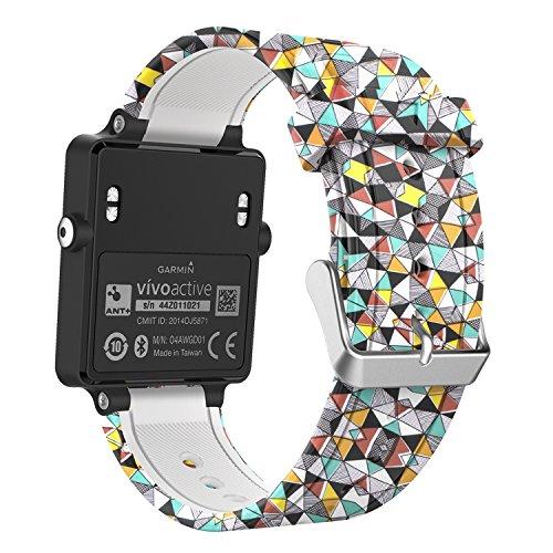 MoKo Correa de Reloj para Garmin Vivoactive, Pulseras Suaves de reemplazo de Bandas de Fitness de Silicona con Cierres metálicos - Diamante Colorido
