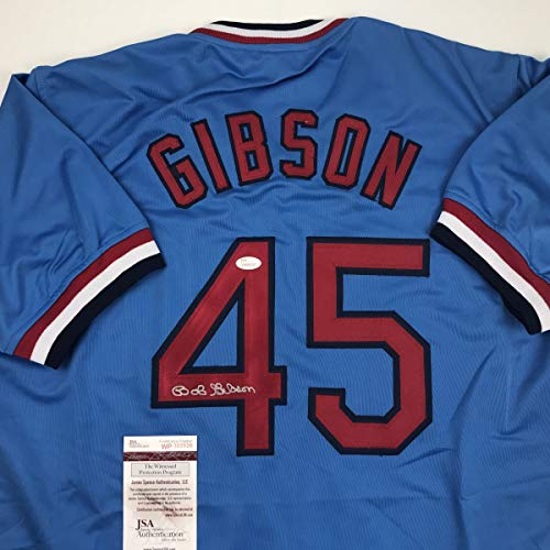 Autographed/Signed Bob Gibson St. Louis Blue Baseball Jersey JSA COA Bob Gibson Autographed Baseball
