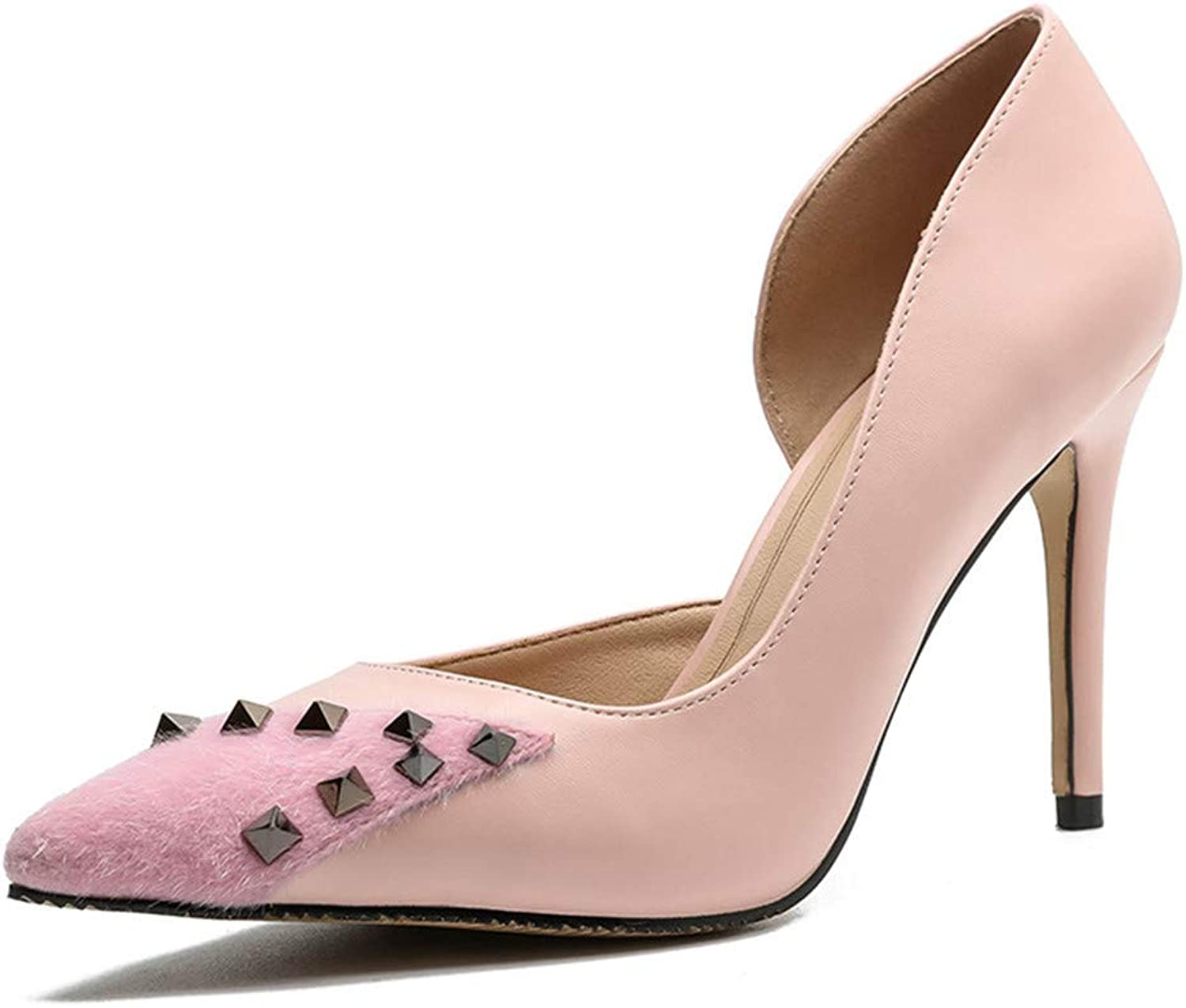 Meiren Pointed Shallow Mouth High Heels Female Autumn Rivets Wild Women's shoes Pink