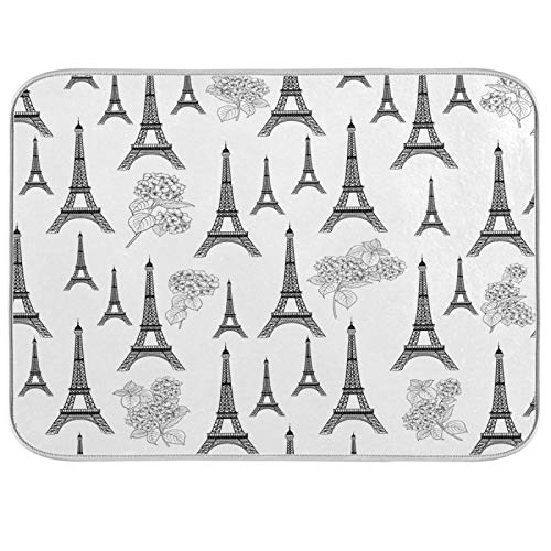 Oarencol Alfombrilla de secado de platos de la Torre Eiffel francesa Francia Paris La Tour,...