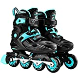 Patines en línea ajustables para niños, 4 cuchillas de ruedas para niños, niñas, adolescentes, adultos jóvenes al aire libre patines para principiantes y avanzados, azul, S (28 ~ 31)