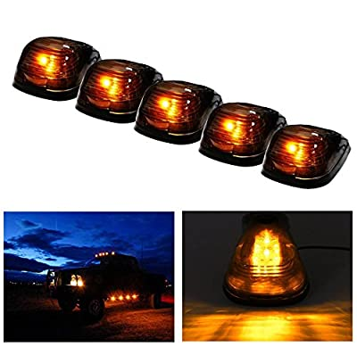 Carrep 5x Smoked Cab Roof Top Marker Running Lamps Clearance Light Lamp W/ Xenon White LED Light Bulbs for Truck Pickup 4X4 SUV