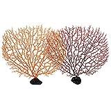 Jinlaili Coral Artificial Acuario, 2 Pz Ornamento Artificial Coral Plástico, Decoración Artificial Mar Planta para Acuario Tanque Pescados, Flor de Coral Acuario, 27 x 30 cm, Naranja, Roja