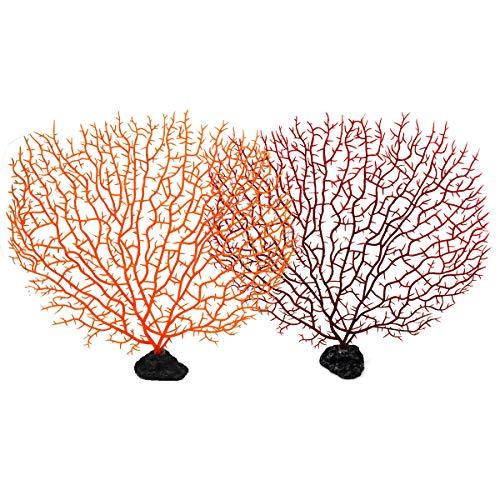 Jinlaili Künstliche Korallen für Aquarium, 2 STK Aquarium Pflanzen Plastik, Kunststoff Aquarium Dekoration Pflanzen, Wasserpflanzen Ornament Künstlich, 27 x 30 cm, Rot, Orange