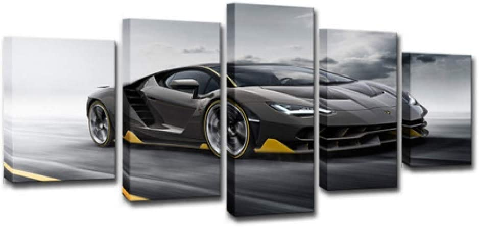 Amazon Com 5 Panel Wall Art Painting Sports Car 5 Part Print Image Printed Art On Canvas Art Print Images For Home Decor Decoration Gift L Posters Prints