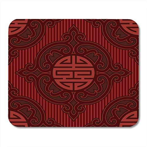 Semtomn Gaming Mouse Pad Chinesischer Vektor Orientalische Nahtlose Fliesen Muster Tapete Hintergrund Asiatisch Koreanisch Dekor Büro Rutschfeste Gummiunterlage Mousepad Maus Matte