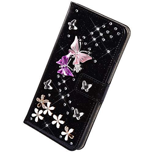Herbests Kompatibel mit Samsung Galaxy S5 Hülle Leder Handyhülle Diamant Bling Strass Glitzer Schmetterling Blumen Muster Leder Tasche Flip Cover Case Klapphülle Schutzhülle,Schwarz