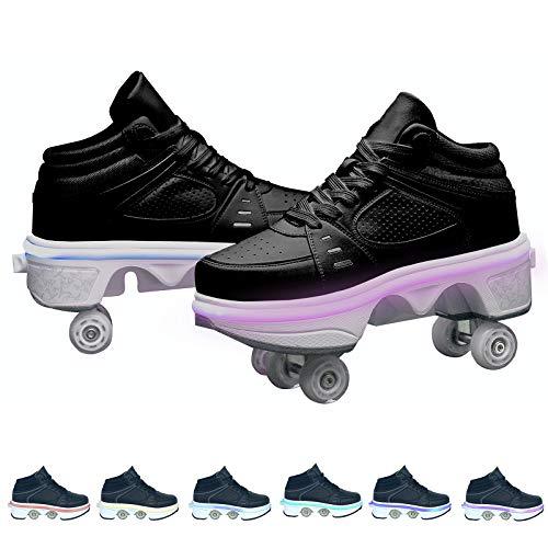 LED Rollschuhe Mit Räder,Mädchen Quad Roller Skates Damen Skate Roller,2-In-1- Skate Schuhe Sportschuhe Multifunktionale Deformation Schuhe Für Unsichtbare Schuhe Fersenroller Kinder,Schwarz,39