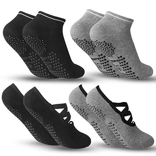 Zacro Calze da Yoga Antiscivolo Yoga Socks (4 Pairs) Fitness, Pilates, Barre, Danza, Allenamento a Piedi Nudi Cadute Prevenzione Donna Calze - Black&Gray