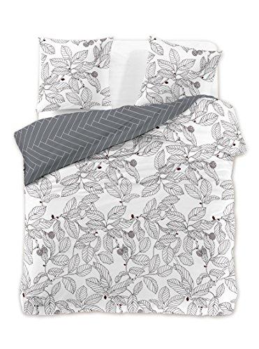 DecoKing Premium 28940 Bettwäsche 200x220 2 Kissenbezüge 80x80 weiß Blumenmuster Bettbezüge Renforcé Baumwolle Mako-Satin Baumwollsatin zweiseitig Ducato Collection Coloring Page grau schwarz