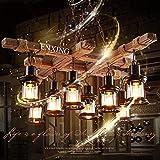 Suspension Rétro Suspendue Lampes En Bois Lampe Suspendue Industriel Vintage 8 Lumières Suspension Lampe Loft Bar Salle À Manger Maison De Campagne E27 Lustre Antique Métal Verre Bois Plafonnier