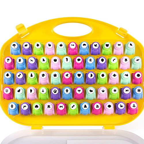 Scrapbook Paper Punch - 58pc Mini Paper Hole Punchers w Case - All Different Crafting Designs - Great Gift